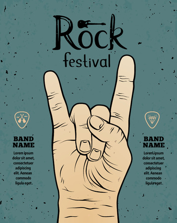 concert background: Vintage Rock festival flyer, poster with Rock and Roll hand sign