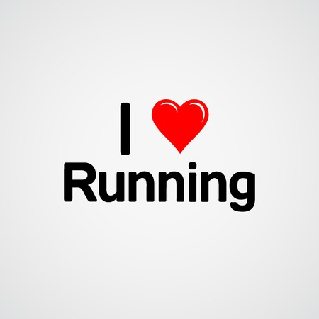 I love running, font type with heart sign
