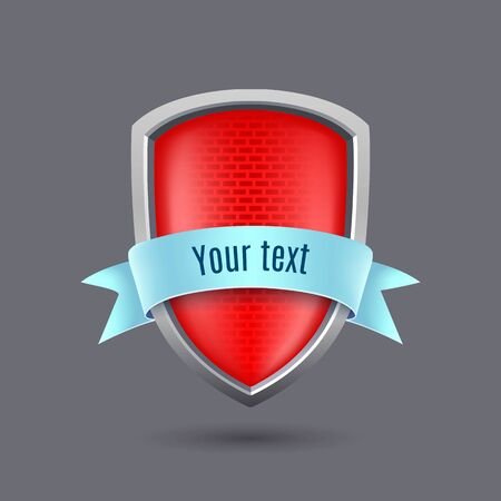 vermeil: Red glossy metal shield on gray background