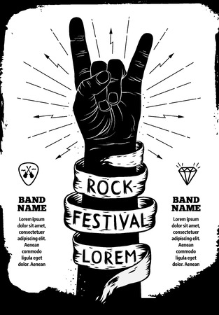 black grunge background: Rock festival poster. Rock and Roll hand sign