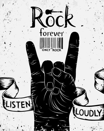 Vintage label with rock forever. Rock and Roll hand sign