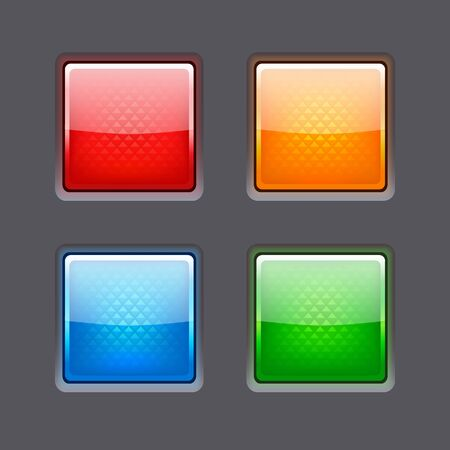 glassy: Set of realistic color glossy buttons. Vector illustration Illustration
