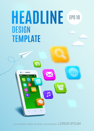 smartphone apps: White smartphone with cloud of application colorful icons. Template design cover book, flyer, poster