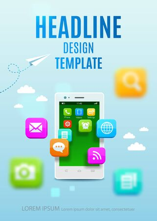 phone button: White smartphone with cloud of application colorful icons. Template design cover book, flyer, poster