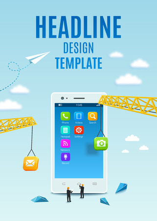 to build: Construction white smartphone, software and mobile application development. Template design cover book, flyer, poster Illustration