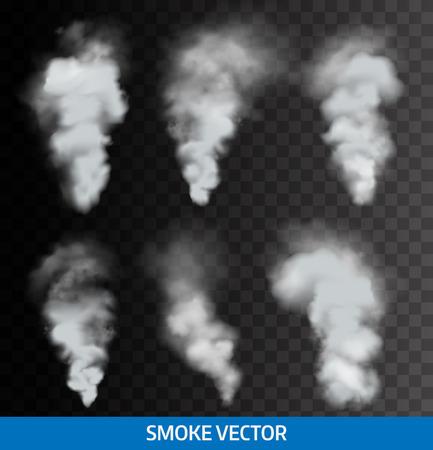 humo: Humo transparente realista, vapor. Vector Vectores