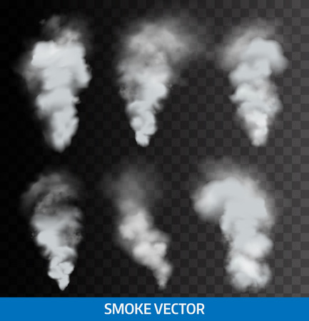 fog: Realistic transparent smoke, steam. Vector