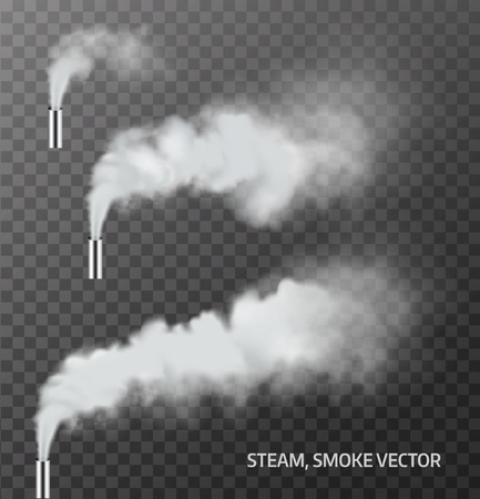 smoke background: Realistic steam, smoke pipe on transparent background . Vector