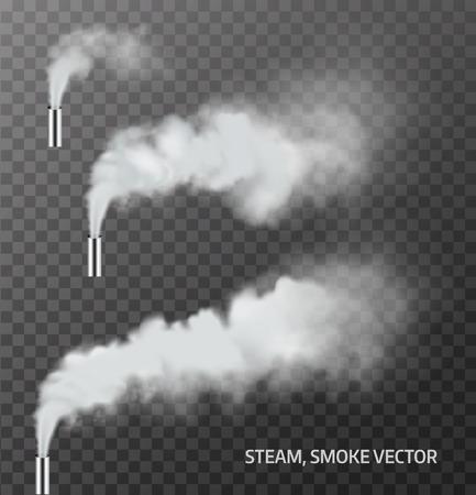 Realistische stoom, rook pijp op transparante achtergrond. Vector Stock Illustratie