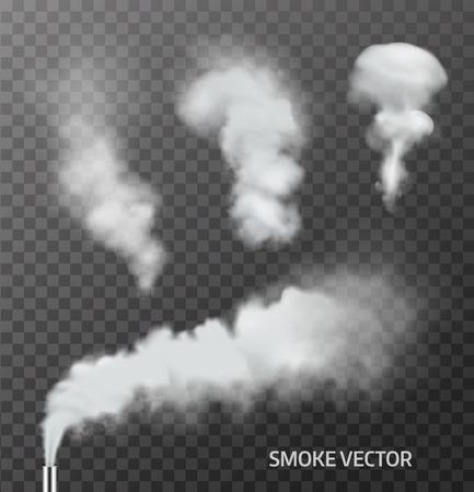 humo: Conjunto de humo realista, vapor en el fondo transparente. Vector Vectores