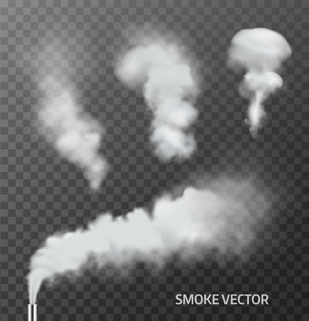 chimneys: Set of realistic smoke, steam on transparent background. Vector