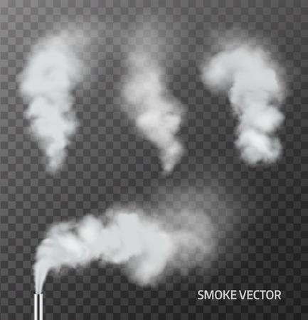 Realistyczne dymu, pary na przezroczystym tle. Wektor