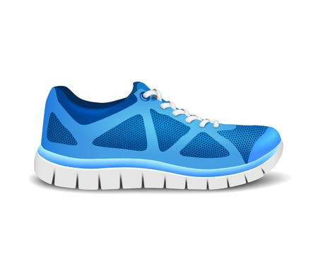 Blue sport shoes for running Çizim