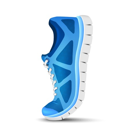 Blue curved sport shoes for running Vectores