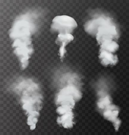 in the smoke: Humo transparente realista. Ilustración vectorial