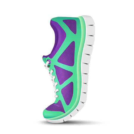 shoes vector: Realistic bright curved sport shoes for running. Vector illustration