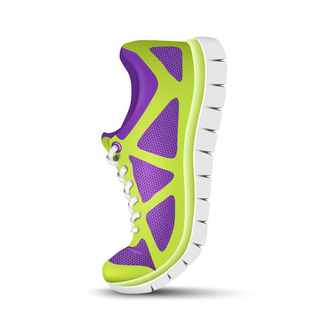 sport shoe: Realistic bright curved sport shoes for running. Vector illustration