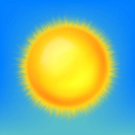 sun cartoon: Weather icon, shiny sun in the blue sky