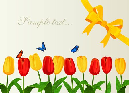 yelow: Greeting card with spring tulips and yelow bow. Vector illustration