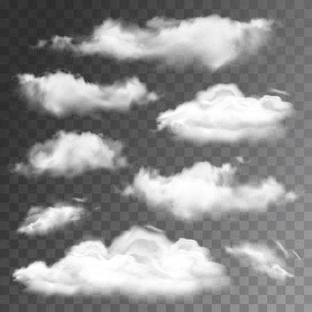 Set of transparent realistic clouds. Vector illustration Vettoriali