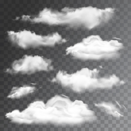 Set of transparent realistic clouds. Vector illustration Ilustracja