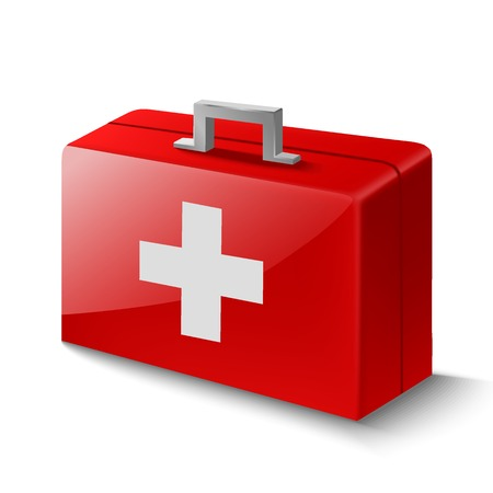 emergency kit: Vector illustration of first aid box on white background