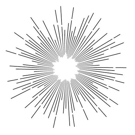 빈티지 흑백 스타 광선입니다. 벡터 일러스트