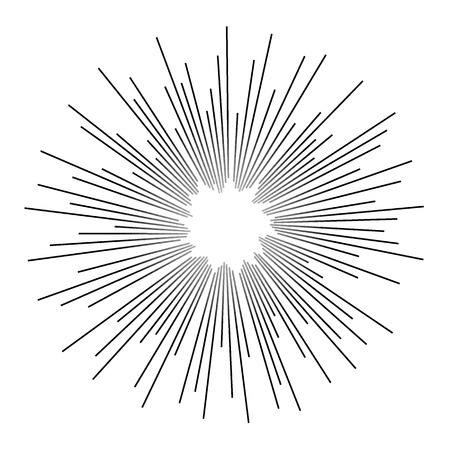 ビンテージ白黒星の光芒。ベクトル  イラスト・ベクター素材