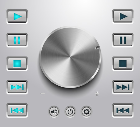 player controls: Metal volume button and setting volume buttons Illustration