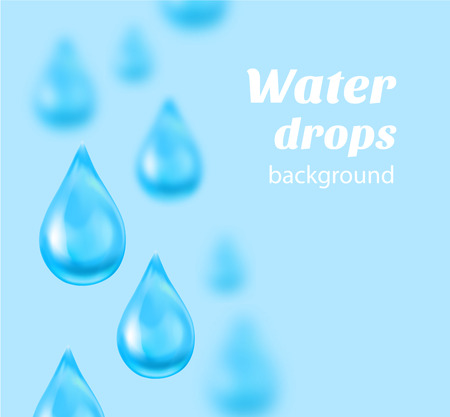 blue water: Water drops on blue background with place for text. Vector illustration