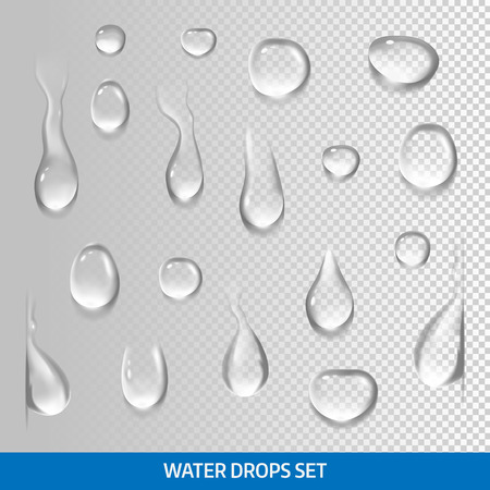 Realistic drops pure, clear water. Isolated vector