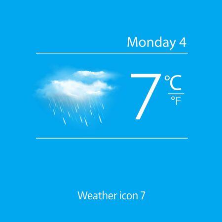 deluge: Realistic weather icon - cloud, light rain. Vector illustration