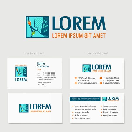 commercial property: Building vector logo design with business card template. Business city Commercial property, logotype concept.