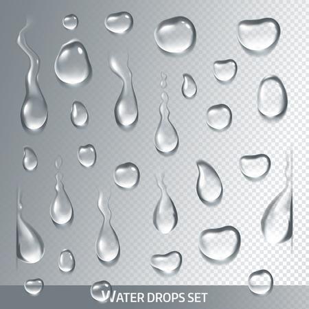 Gotas realistas puros, agua clara sobre fondo gris claro. Aislado vectorial