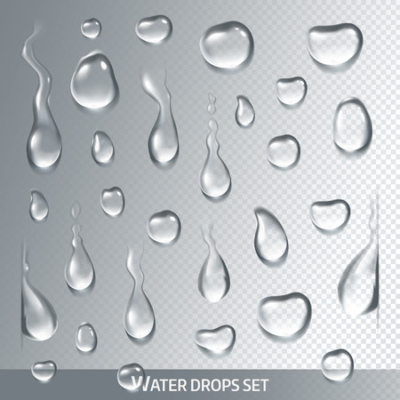 droplet: Realistic drops pure, clear water on light gray background. Isolated vector Illustration