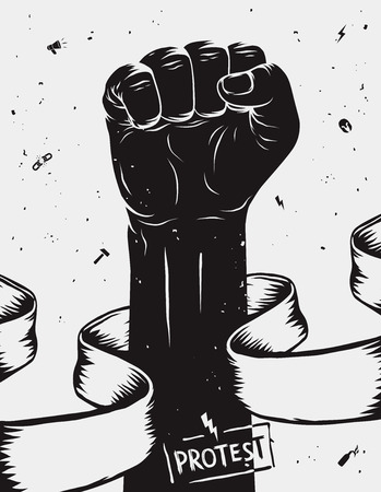clenched: Protest background, raised fist held in protest. Vector illustration