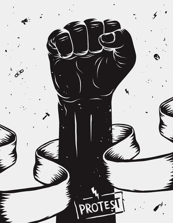 puños cerrados: Protesta de fondo, levantó el puño a cabo en protesta. Ilustración vectorial