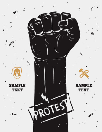 manos levantadas: Cartel de protesta, criado puño celebró en protesta. Ilustración vectorial