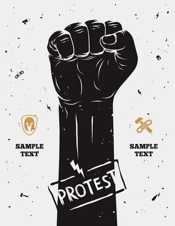 Protest poster, opgeheven vuist gehouden in protest. Vector illustratie Stock Illustratie