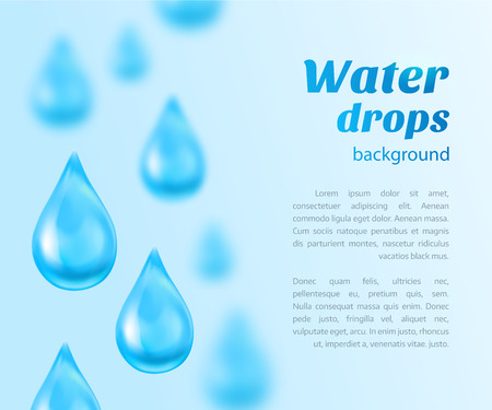 Water drops background with place for text. Vector illustration