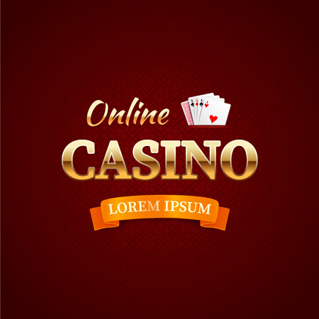 Casino - logo or emblem, online casino typography design, game cards with the gold text on dark red background