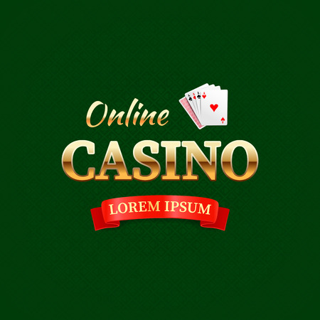 las vegas casino: Casino - logo or emblem, online casino typography design, game cards with the gold text on dark green background Illustration