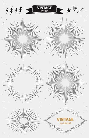Set van Vintage Zon Burst. Vector zwart-wit starburst Stock Illustratie