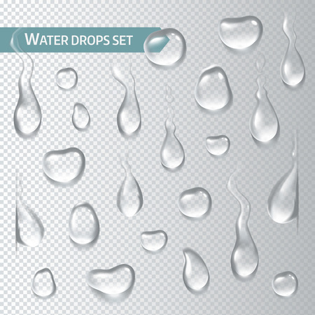 Droplets of water on a transparent background. Vector illustration Çizim