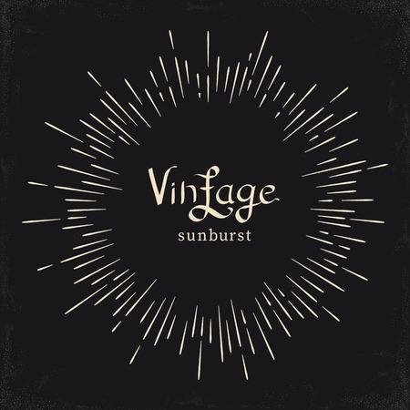 Vintage zwart-wit zon, zonnestraal, starburst