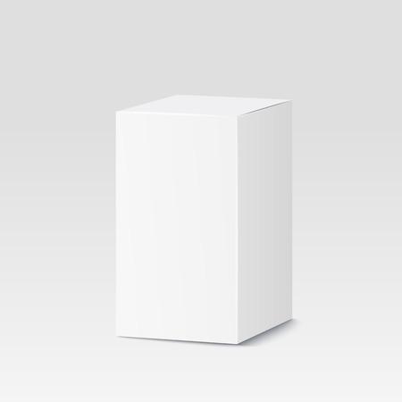 blanco: Caja de cartón sobre fondo blanco. Blanco recipiente, empaque. Ilustración vectorial