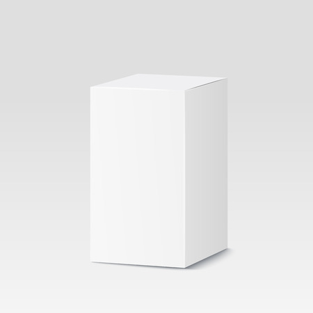 mockup: Cardboard box on white background. White container, packaging. Vector illustration