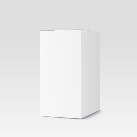 Realistic cardboard box on white background. White container, packaging. Vector illustration Çizim