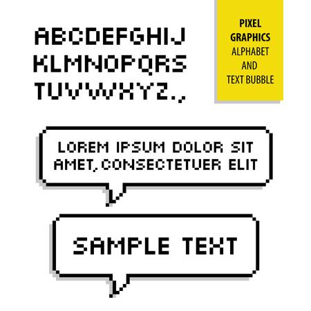 Pixel tekstbel en Pixel alphabet Stock Illustratie