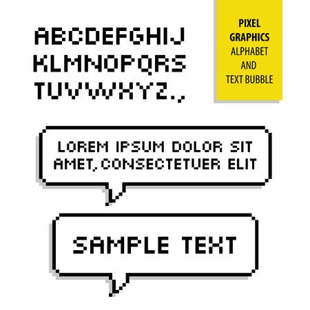 chat bubbles: Pixel text bubble and Pixel alphabet